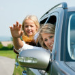 Family travelling by car, mother — Stock Photo