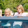 Family travelling by car, kids — Stock Photo
