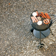 Barbecue grill with meat and — 图库照片