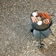 Barbecue grill with meat and — Stock Photo