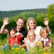 Very happy family with three  — Stockfoto