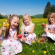 Children on a beautiful sunlit — Stock Photo