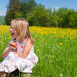 Little girl on a beautiful sunlit — Stock Photo