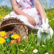 Child petting the Easter bunny — Stock Photo #5024479