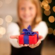 Girl in front of a Christmas tree — Stock Photo #5024653