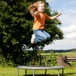 Little girl on a trampoline in a — Stock Photo