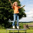 Little girl on a trampoline in a — Stock Photo #5024823
