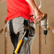 Construction worker with hand — Stock Photo