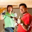 DIY couple in home — Foto de Stock