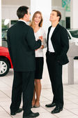 Sales situation in a car — Stock Photo