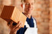 Bricklayer with brick at a — Stock Photo