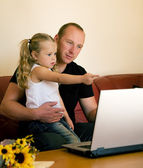 Father teaching his daughter — Stock Photo