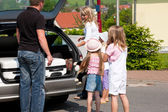 Family travelling by car to their vacation — Stock Photo