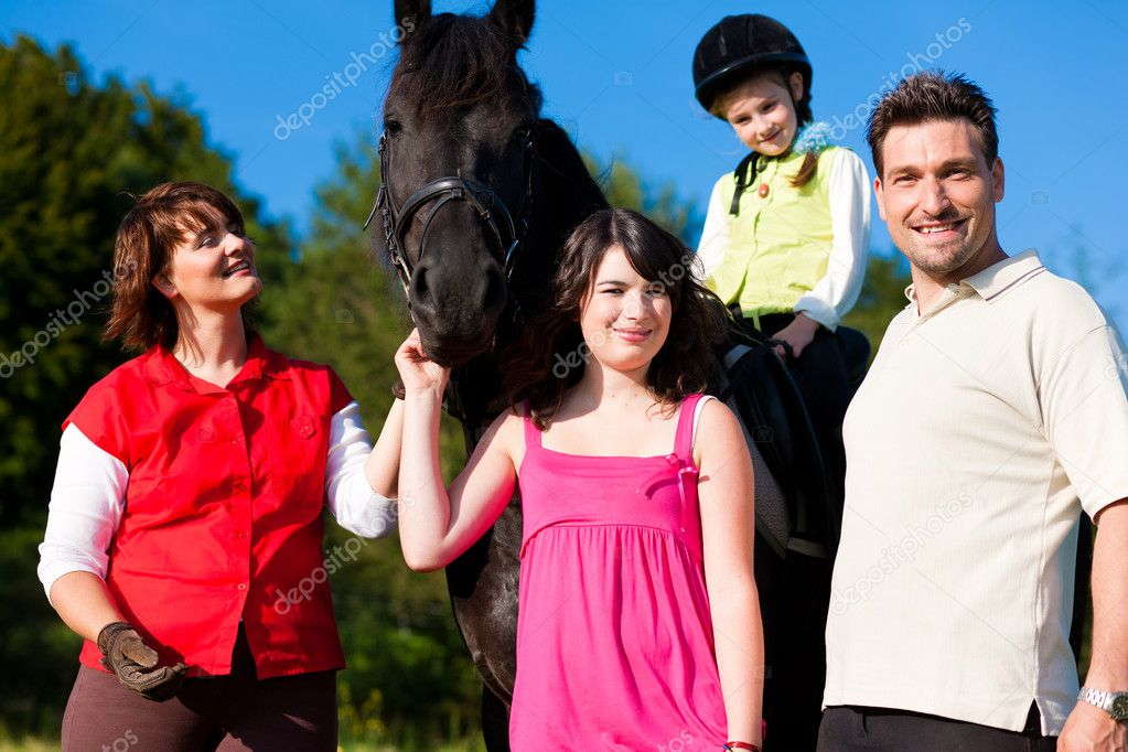A horse, one child riding the animal  — Stock Photo #5024879