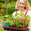 Gardening - Young blonde — Stock Photo
