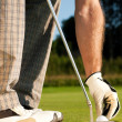 Golf player attempting the tee — Stock Photo