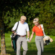 Mature or senior couple playing — Stock Photo