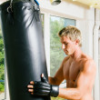 Kickboxer kicking — Stock Photo