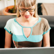 Royalty-Free Stock Photo: Woman - a telecommuterdoing administration of her business from a laptop si