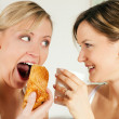 Two friends (female) having a — Stock Photo