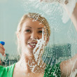 Young woman cleaning her — Stock Photo #5051475