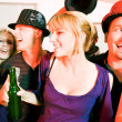 Having a karaoke party — Stock Photo