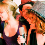 Having a karaoke party — Stock Photo #5052233