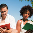 Stock Photo: Couple reading books in the