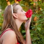 Frau Garten Arbeit — Stockfoto