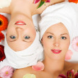 Stock Photo: Two girls relaxing in a wellness