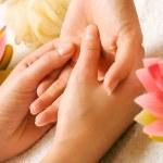 Woman getting a hand massage — Stock Photo