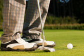 Golf player attempting the tee — Stockfoto