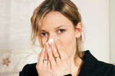Woman with a flu or cold having — Foto Stock