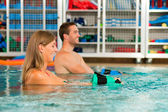 Couple exercising Aquarobics — Stock Photo