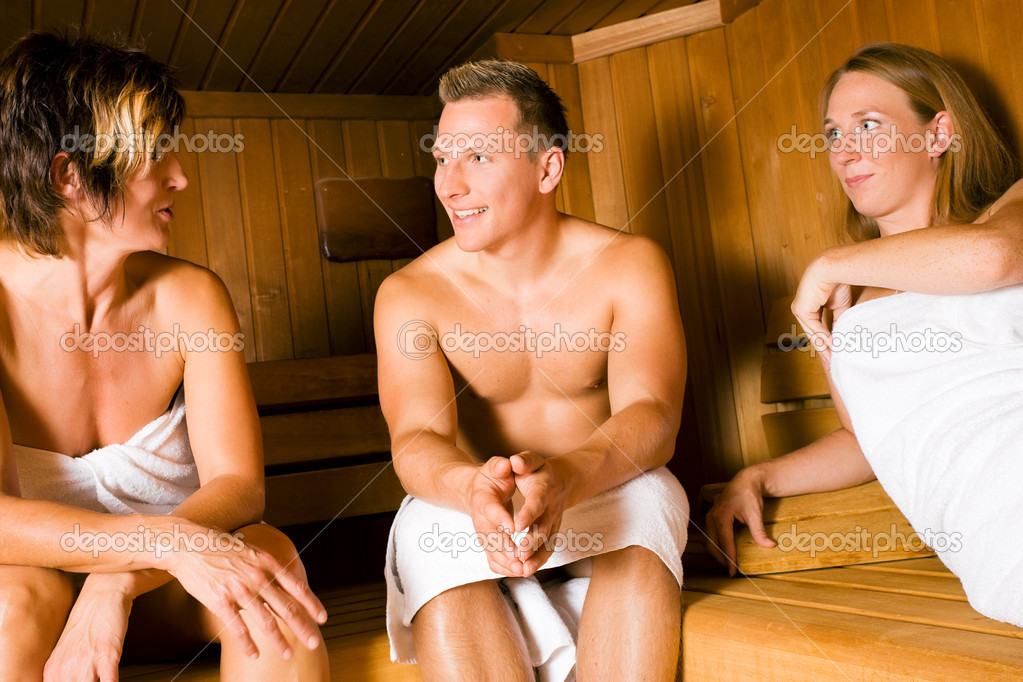 Female) relaxing in a sauna, doing a lot for their health but also having fun with it — Stock Photo #5051127