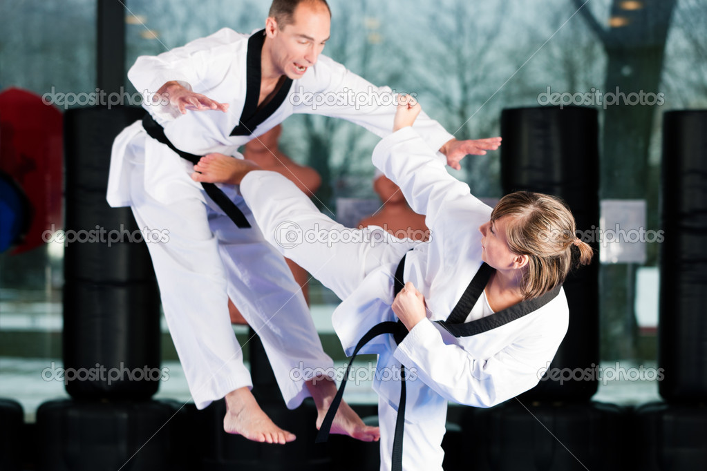 Training exercising Taekwondo, both have a black belt — Stock Photo #5052119