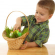 Royalty-Free Stock Photo: Little boy with easter eggs in grass
