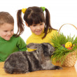 Royalty-Free Stock Photo: Little children with easter rabbit