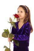 Little girl dreaming with a rose — Stock Photo
