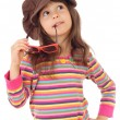 Little girl in big brown hat and with sunglasses — Stock Photo