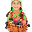 Stock Photo: Little girl with basket of fruits