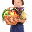 Little boy with basket of vegetables — Stock Photo #4886446