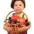 Little boy with basket of fruits — Stock Photo #4886497