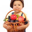 Royalty-Free Stock Photo: Little boy with basket of fruits