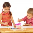 Little children with watercolor paintings — Stock Photo