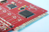 Electronic board - red PCI card — Stock Photo