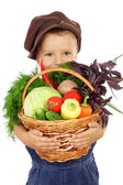 Little boy with basket of vegetables — Stockfoto