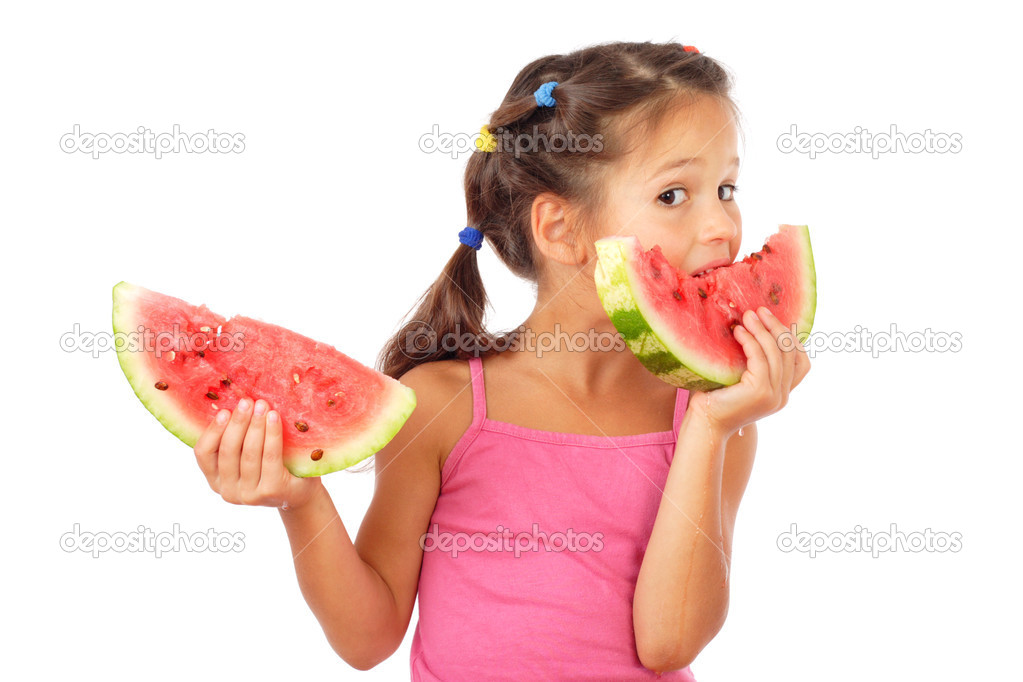 Little girl eating two slices of watermelon, studio shoot — Stock Photo #4886196