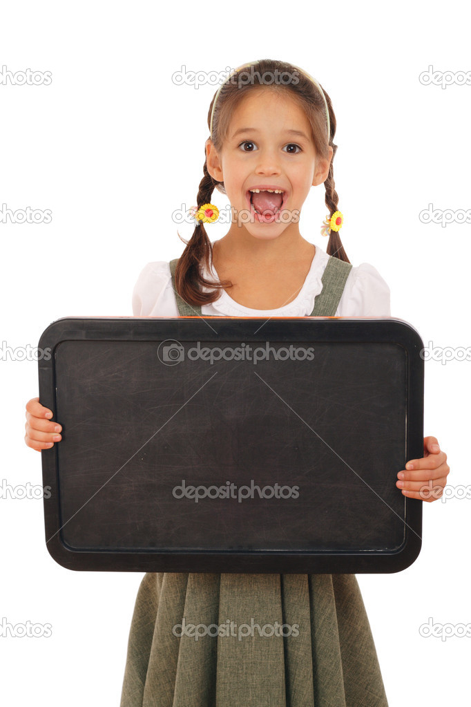 Little emotional schoolgirl with empty chalkboard, isolated on white  Stock Photo #4886519