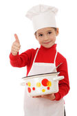 Pequeno chefe-fogão com polegares para cima e pote — Fotografia Stock